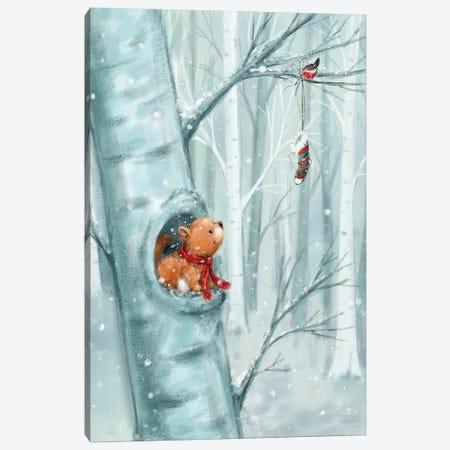Squirrel in Wood Canvas Print #MKK298} by MAKIKO Canvas Wall Art