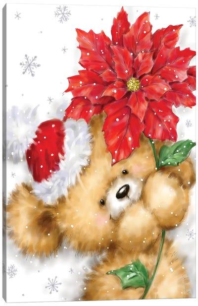 Bear with Poinsettia I Canvas Art Print