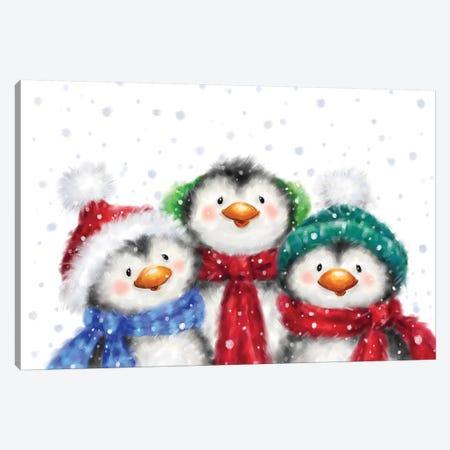 Three Penguins I Canvas Print #MKK304} by MAKIKO Art Print