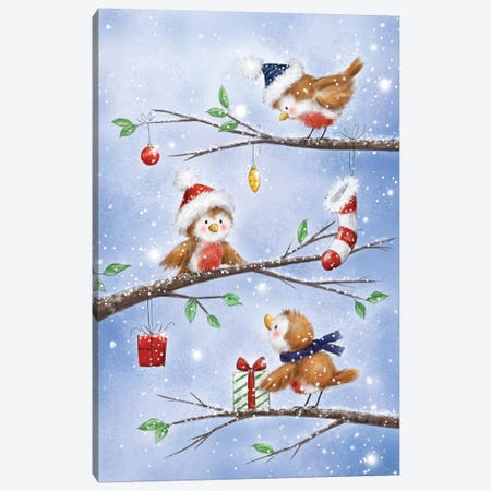 Three Robins Canvas Print #MKK307} by MAKIKO Canvas Print