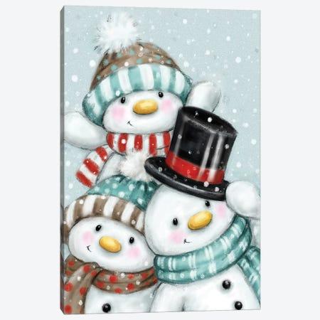 Three Snowmen III Canvas Print #MKK309} by MAKIKO Canvas Wall Art