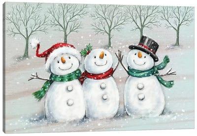 Three Snowmen II A Canvas Art Print