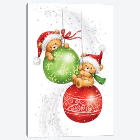 Two Bears on Baubles Canvas Print #MKK315} by MAKIKO Canvas Wall Art