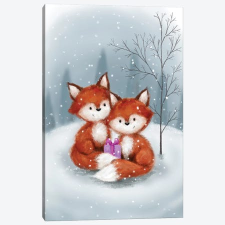 Two Fox I Canvas Print #MKK322} by MAKIKO Canvas Artwork