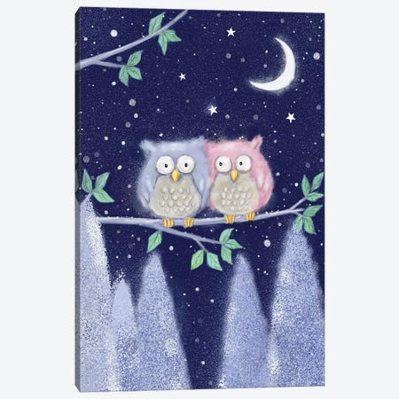 Two Owls II Canvas Print #MKK326} by MAKIKO Canvas Print