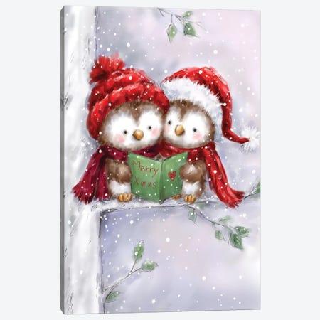Two Owls On Tree Canvas Print #MKK327} by MAKIKO Art Print