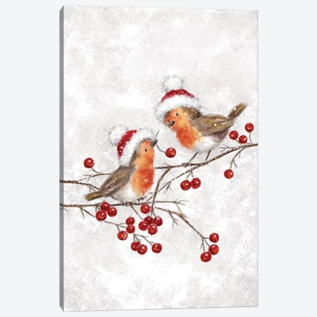 Two Robins Canvas Print #MKK330} by MAKIKO Canvas Print