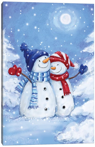 Two Snowmen III Canvas Art Print