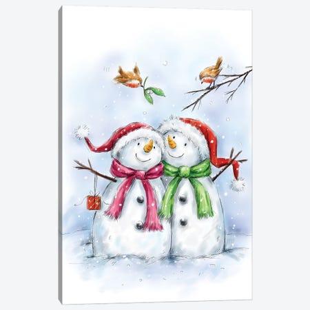 Two Snowmen IV Canvas Print #MKK335} by MAKIKO Canvas Artwork
