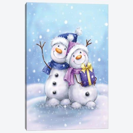 Two Snowmen V Canvas Print #MKK336} by MAKIKO Canvas Wall Art