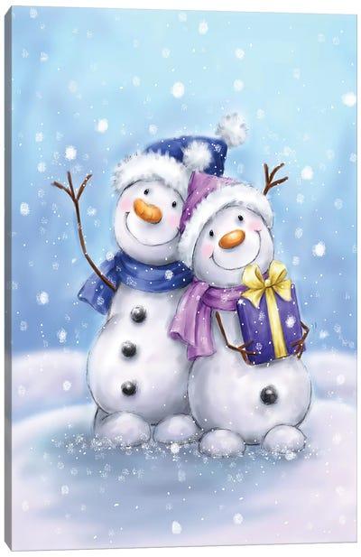 Two Snowmen V Canvas Art Print