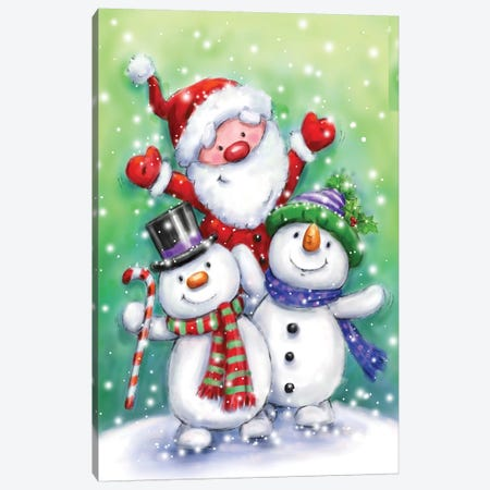 Two Snowmen And Santa Canvas Print #MKK339} by MAKIKO Canvas Art Print