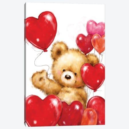 Valentine Bear II Canvas Print #MKK341} by MAKIKO Canvas Wall Art