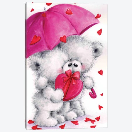 Valentine Grey Bears Canvas Print #MKK342} by MAKIKO Canvas Art