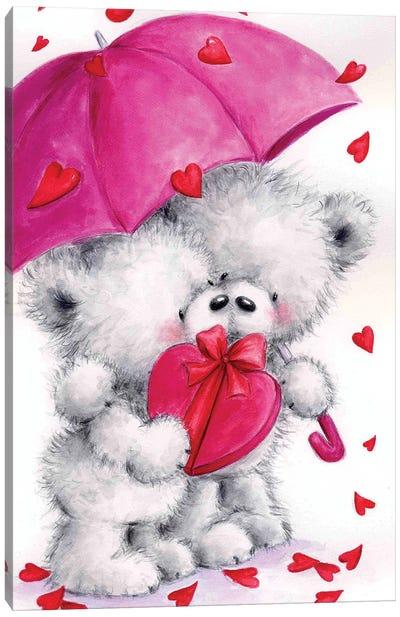 Valentine Grey Bears Canvas Art Print