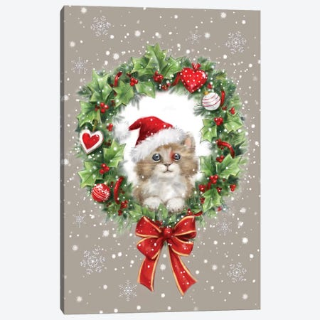 Wreath And Cat Canvas Print #MKK343} by MAKIKO Canvas Wall Art