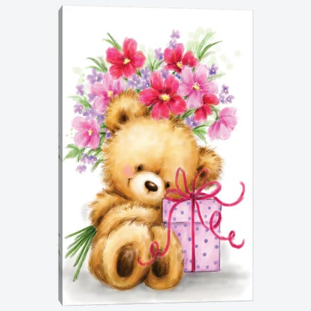 Bear with Present and Flowers Canvas Print #MKK35} by MAKIKO Canvas Art