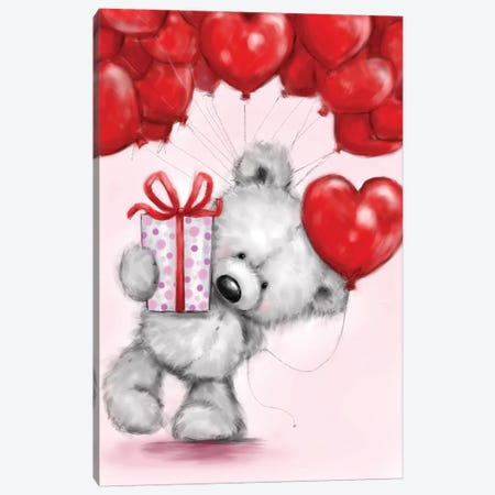 Bear with Red Balloons Canvas Print #MKK36} by MAKIKO Canvas Art