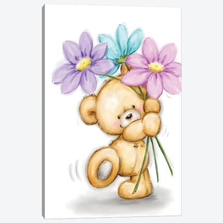 Bear with Three Flowers Canvas Print #MKK39} by MAKIKO Canvas Art Print