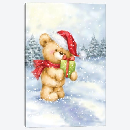 Christmas Bear I Canvas Print #MKK47} by MAKIKO Canvas Print