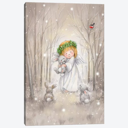 Angel with Rabbit Canvas Print #MKK4} by MAKIKO Canvas Print