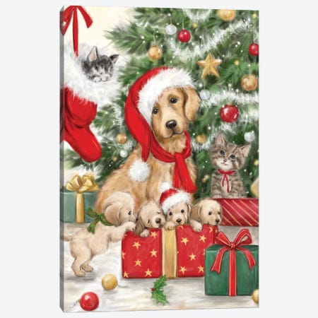 Christmas Dog and Cat Canvas Print #MKK51} by MAKIKO Canvas Print