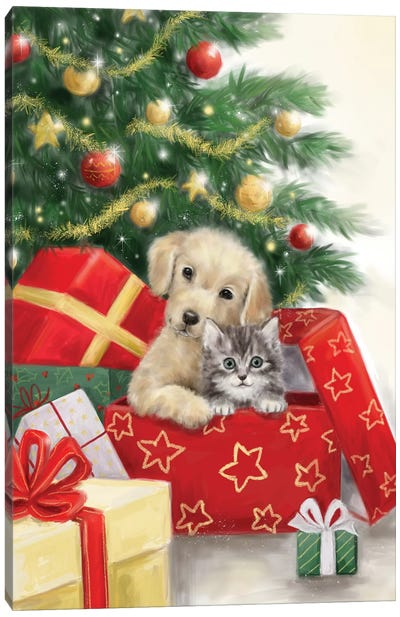 Christmas Dog and Cat in Box Canvas Art Print