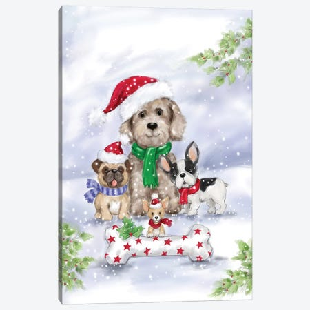 Christmas Dogs Canvas Print #MKK53} by MAKIKO Canvas Print
