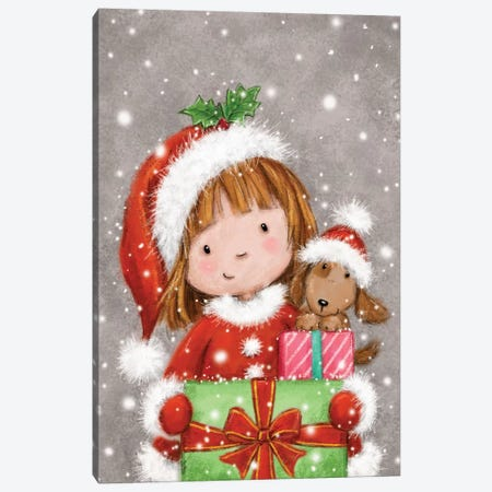 Christmas Girl with Presents Canvas Print #MKK54} by MAKIKO Canvas Artwork