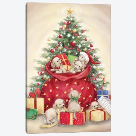 Christmas Puppies Canvas Print #MKK56} by MAKIKO Canvas Art