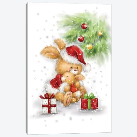 Christmas Rabbit Hug Canvas Print #MKK57} by MAKIKO Canvas Art