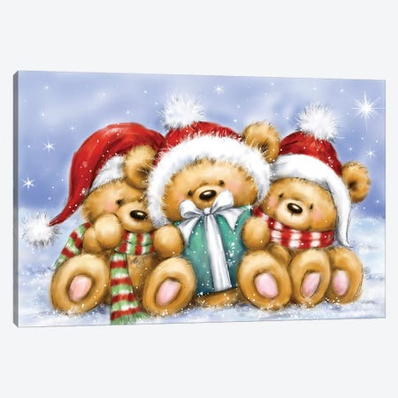 Christmas Three Bears Canvas Print #MKK58} by MAKIKO Canvas Print