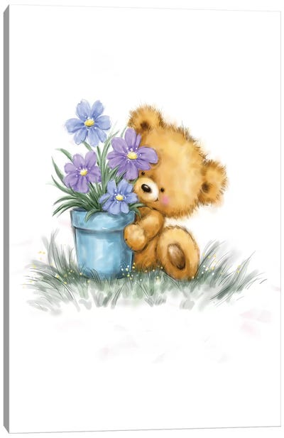 Baby Bear with Flowers Canvas Art Print