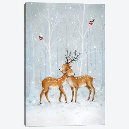 Deer Couple in Wood Canvas Print #MKK61} by MAKIKO Canvas Art