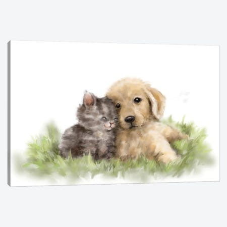 Dog and Cat I  Canvas Print #MKK64} by MAKIKO Canvas Print