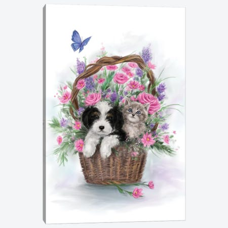 Dog and Cat in Flower Basket Canvas Print #MKK66} by MAKIKO Art Print