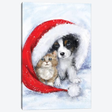 Dog and cat under Santa's hat Canvas Print #MKK67} by MAKIKO Art Print