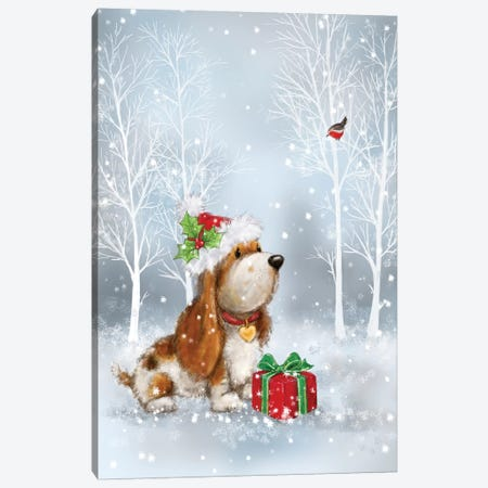 Dog And Robin With Present Canvas Print #MKK69} by MAKIKO Canvas Artwork