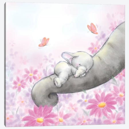 Baby Elepant Sleeping Canvas Print #MKK6} by MAKIKO Canvas Art Print