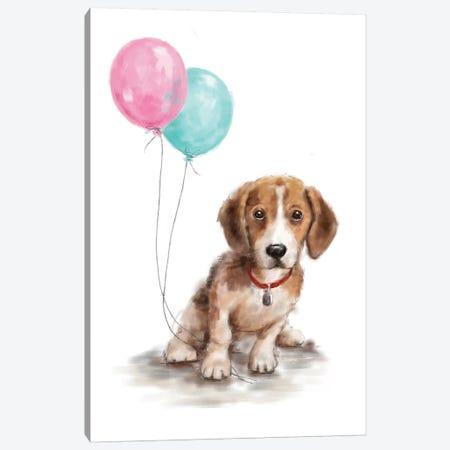 Dog with Balloon I Canvas Print #MKK71} by MAKIKO Canvas Art Print