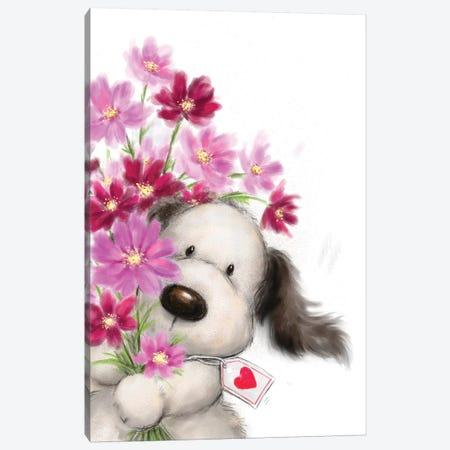 Dog with Flowers I Canvas Print #MKK72} by MAKIKO Canvas Print