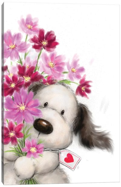 Dog with Flowers I Canvas Art Print