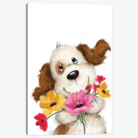 Dog with Flowers II Canvas Print #MKK73} by MAKIKO Canvas Print