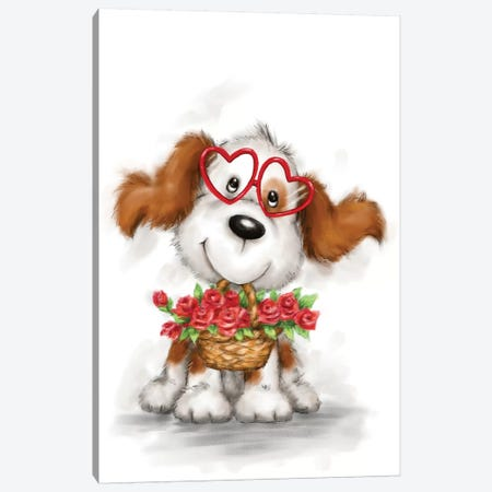 Dog with Glasses and Flowers Canvas Print #MKK74} by MAKIKO Canvas Wall Art