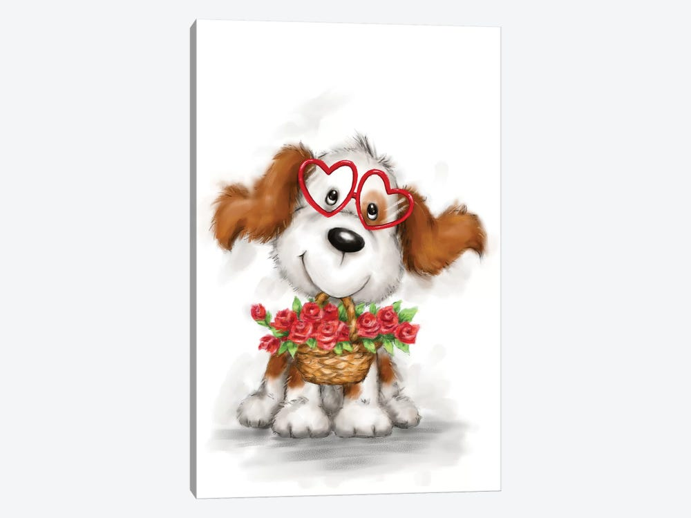 Dog with Glasses and Flowers by MAKIKO 1-piece Canvas Artwork