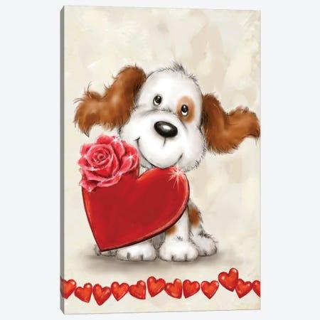 Dog with Heart Canvas Print #MKK75} by MAKIKO Canvas Art