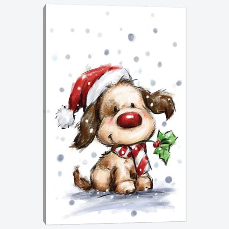 Dog with Holly Canvas Print #MKK76} by MAKIKO Canvas Art
