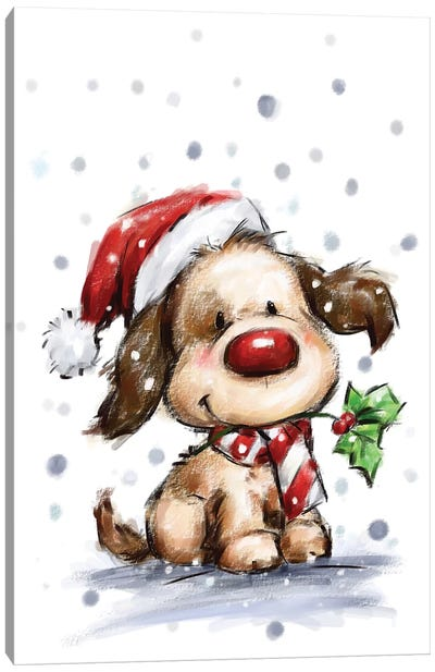 Dog with Holly Canvas Art Print