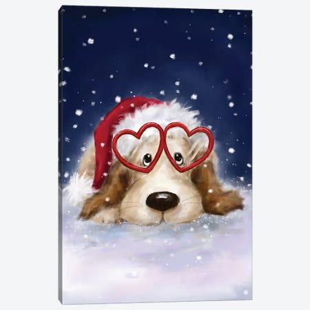 Dog with Santa s Hat Canvas Print #MKK79} by MAKIKO Canvas Print
