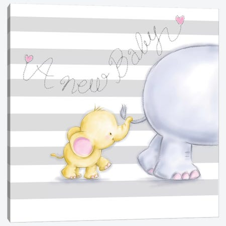 Baby Elephant 3-Piece Canvas #MKK7} by MAKIKO Canvas Art Print